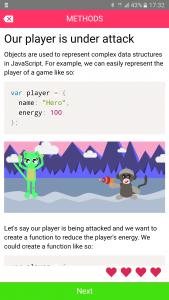 Codemurai mobile app to learn programming - JavaScript methods lesson
