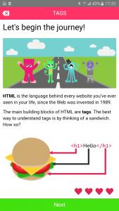 Codemurai mobile app to learn programming - html lesson