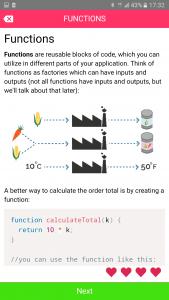 Codemurai mobile app to learn programming - JavaScript functions lesson