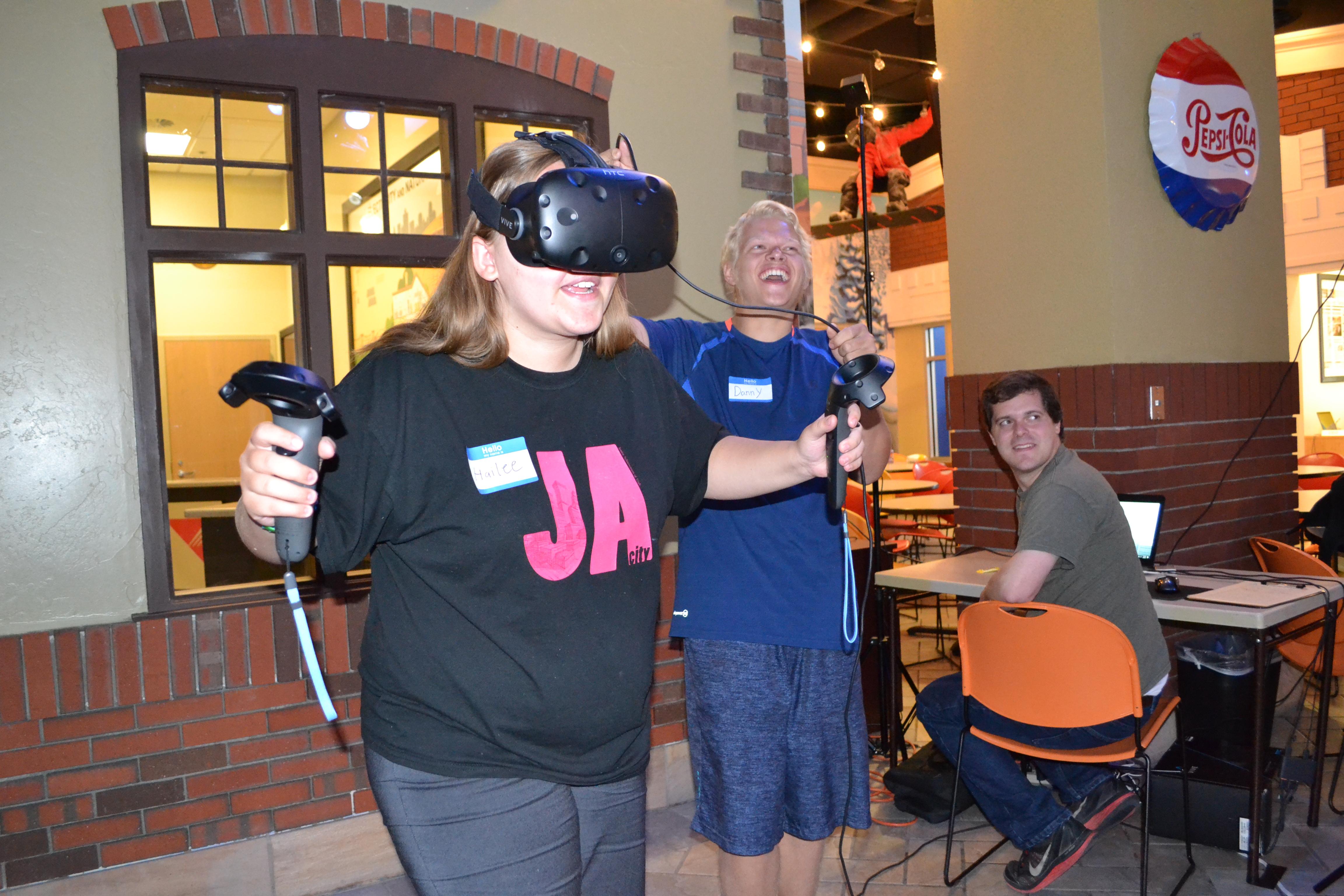 Ryan Buchanan's students testing VR headset