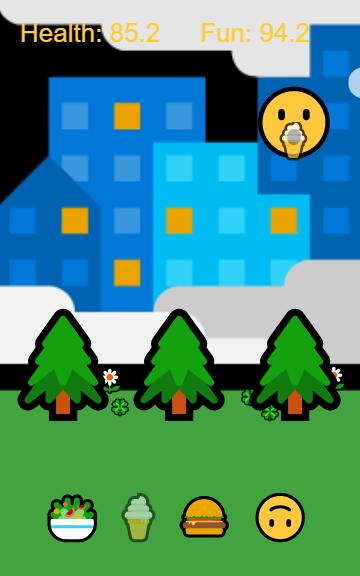 Emoji pet eating in Lucas Knight's game
