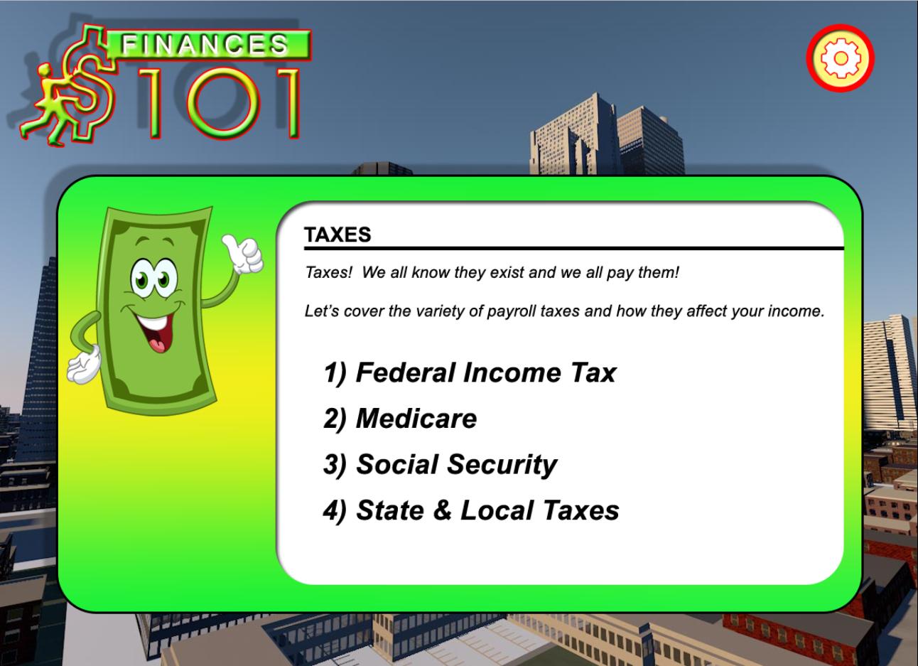 Finances 101 Tax info screen