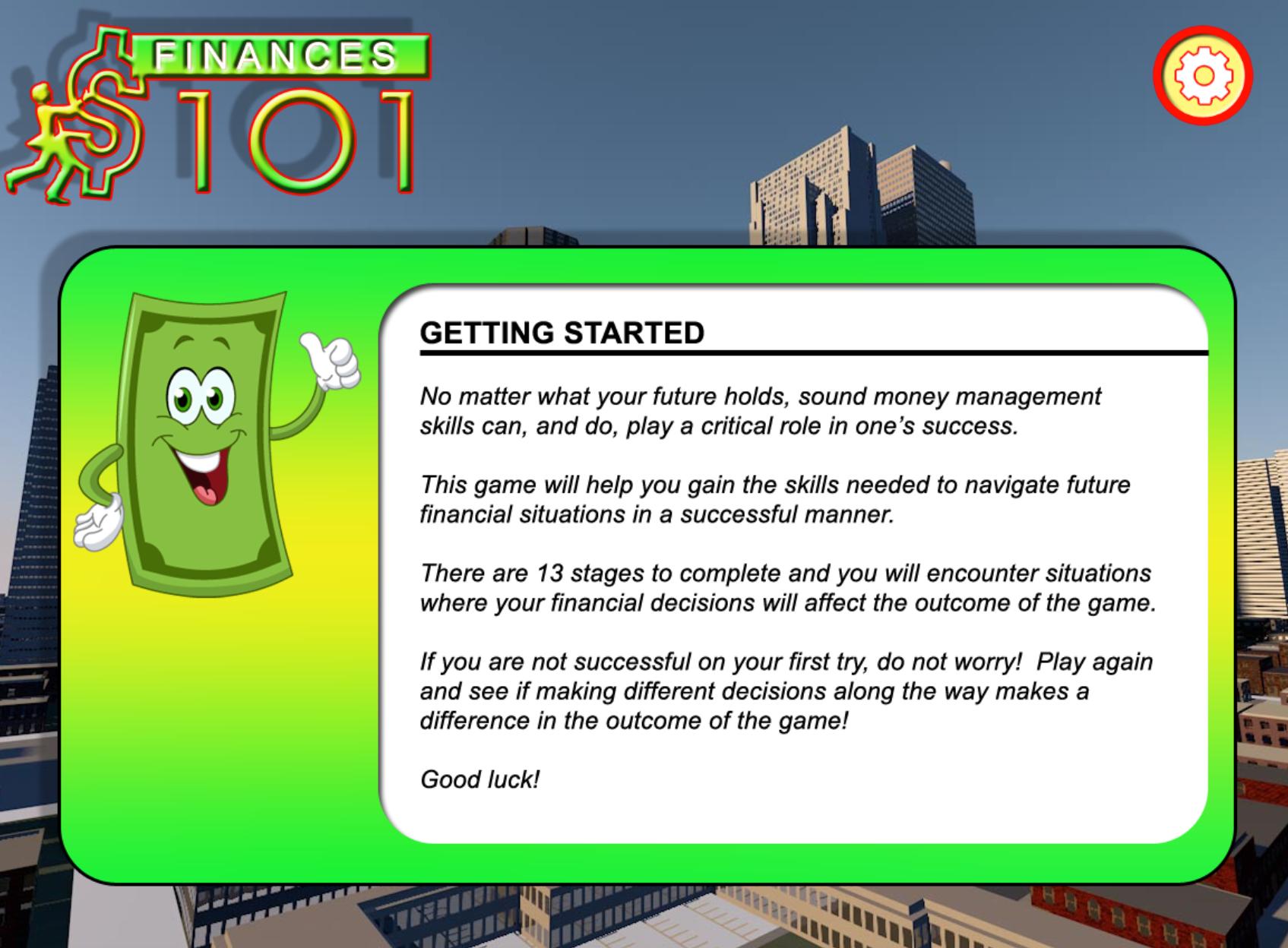 Finances 101 instructions screen