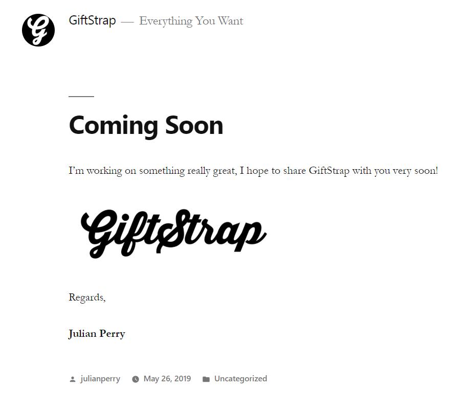 Screenshot of Giftstrap website by Julian Perry