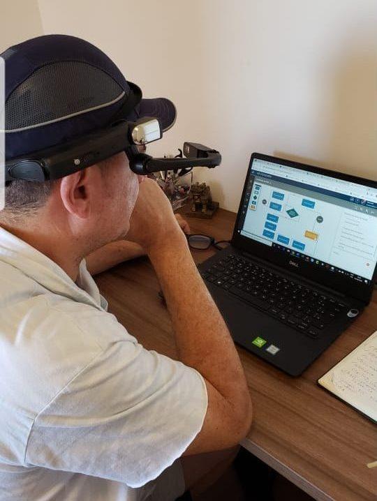 Max Ciqueira looking at farming application