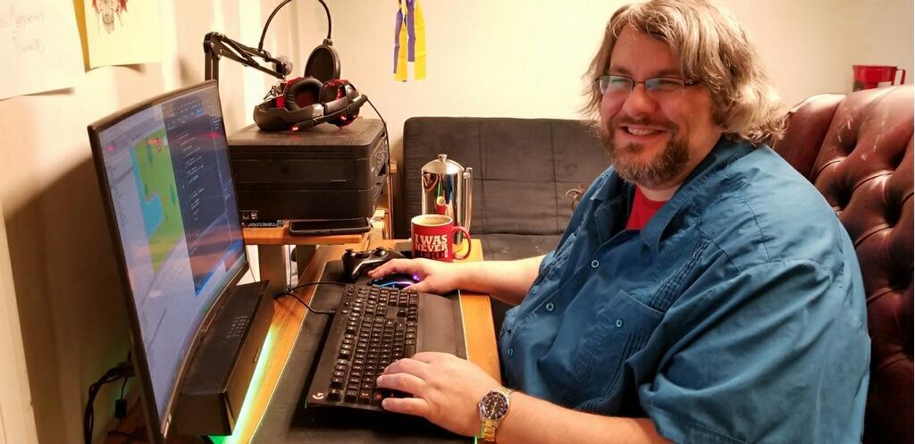Craig Bickford at computer working