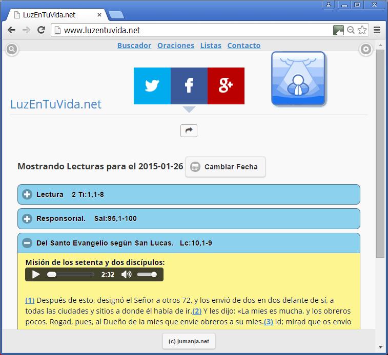 Screenshot of luzentuvida.net